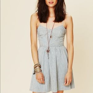 Free people denim bustier dress in denim stripe.